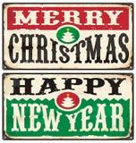 Wesoło boże narodzenia i Szczęśliwi nowego roku rocznika znaki Ustawiający Zdjęcie Stock