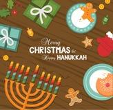 Wesoło boże narodzenia i szczęśliwy Hanukkah świętowanie ilustracja wektor