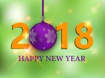 Wesoło boże narodzenia i Szczęśliwy nowego roku 2018 kartka z pozdrowieniami, ilustracja Świąteczny premia projekta szablon dla w Zdjęcia Royalty Free