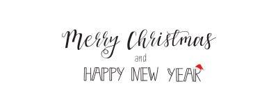 Wesoło boże narodzenia i Szczęśliwy nowego roku kartka z pozdrowieniami w nowożytnym płaskim projekcie sztandar Obrazy Stock