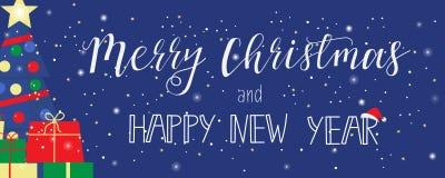 Wesoło boże narodzenia i Szczęśliwy nowego roku kartka z pozdrowieniami w nowożytnym płaskim projekcie sztandar Fotografia Royalty Free