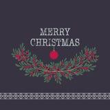Wesoło boże narodzenia i szczęśliwy nowego roku kartka z pozdrowieniami wianku backgrou Zdjęcia Royalty Free