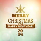 Wesoło boże narodzenia i szczęśliwy nowego roku 2014 plakat Obraz Royalty Free