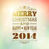 Wesoło boże narodzenia i szczęśliwy nowego roku 2014 plakat Zdjęcia Stock
