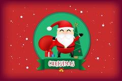 Wesoło boże narodzenia i szczęśliwy nowego roku pojęcie na czerwonego koloru tle ilustracja wektor