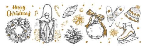 Wesoło boże narodzenia i Szczęśliwy nowego roku set Wektorowa ręka rysująca Ilustracja Wektor
