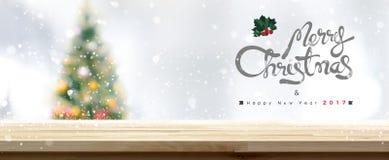 Wesoło boże narodzenia i Szczęśliwy nowego roku 2017 stołowego wierzchołka tło Obrazy Stock