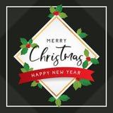 Wesoło boże narodzenia i Szczęśliwy nowego roku szablon dla powitania Obrazy Royalty Free