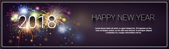 Wesoło boże narodzenia I Szczęśliwy nowego roku sztandaru fajerwerku zimy wakacji kartka z pozdrowieniami 2018 pojęcie ilustracji