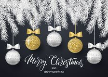 Wesoło boże narodzenia i Szczęśliwy nowego roku tło dla wakacyjnego kartka z pozdrowieniami, zaproszenie, partyjna ulotka, plakat royalty ilustracja