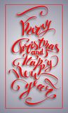 Wesoło boże narodzenia i Szczęśliwy nowego roku tekst Obrazy Royalty Free