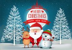 Wesoło boże narodzenia i szczęśliwy nowego roku teksta projekt z ramą, faborkiem, Santa klauzula i Śnieżnym mężczyzna, royalty ilustracja