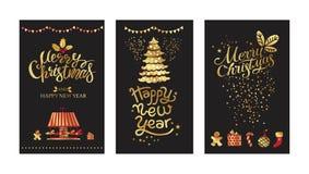 Wesoło boże narodzenia i Szczęśliwy nowego roku złota emblemat ilustracja wektor
