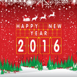 Wesoło boże narodzenia 2016 i Szczęśliwy nowy rok Święty Mikołaj i czerwony renifer Śnieg na czerwonym tle i choinka Fotografia Royalty Free