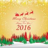 Wesoło boże narodzenia 2016 i Szczęśliwy nowy rok Święty Mikołaj i czerwony renifer Śnieg na czerwonym tle i choinka Obrazy Stock