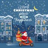 Wesoło boże narodzenia i Szczęśliwy nowy rok, Szczęśliwy Święty Mikołaj jedzie hulajnogę z prezenta pudełkiem Zimy tło, nocy mias royalty ilustracja