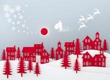 Wesoło boże narodzenia i Szczęśliwy nowy rok Święty Mikołaj na niebie przychodzi miasto z zima krajobrazem z płatkami śniegu, świ ilustracji