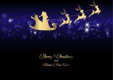 Wesoło boże narodzenia i Szczęśliwy nowy rok, Święty Mikołaj złoto z reniferowym lataniem, kartka z pozdrowieniami z płatkami śni Zdjęcia Royalty Free