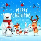 Wesoło boże narodzenia i Szczęśliwy nowy rok! Bożenarodzeniowy Śliczny zwierzę charakter Szczęśliwych bożych narodzeń kamraci ilustracja wektor