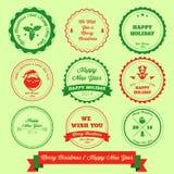 Wesoło boże narodzenia I Szczęśliwy nowy rok etykietki znaczek Zdjęcia Stock