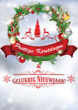Wesoło boże narodzenia i Szczęśliwy nowy rok - Holenderski język Zdjęcie Stock