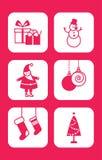 Wesoło boże narodzenia i Szczęśliwy nowy rok ikony set ilustracji