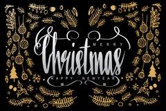 Wesoło boże narodzenia i Szczęśliwy nowy rok, kaligrafii literowanie w dar Zdjęcia Stock