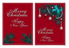 Wesoło boże narodzenia i Szczęśliwy nowy rok Kartka z pozdrowieniami z Chrirstmas dekoracjami na jedlinowym drzewie ilustracja royalty ilustracja