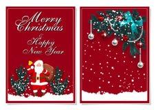 Wesoło boże narodzenia i Szczęśliwy nowy rok Kartka z pozdrowieniami z dekoracjami na śniegu i choince Święty Mikołaj z a royalty ilustracja
