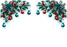 Wesoło boże narodzenia i Szczęśliwy nowy rok Kartka z pozdrowieniami z dekoracjami na błękitnej choince w śniegu Narożnikowy rysu ilustracji