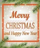 Wesoło boże narodzenia i Szczęśliwy nowy rok! Kartka z pozdrowieniami plakat Obrazy Stock
