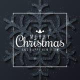 Wesoło boże narodzenia i Szczęśliwy nowy rok Luksusowy i błyszczący duży płatek śniegu błyskotliwość na ciemnym tle biel rama 200 ilustracja wektor