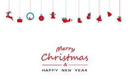 Wesoło boże narodzenia i szczęśliwy nowy rok minimalni, rocznik, wiszący de ilustracji