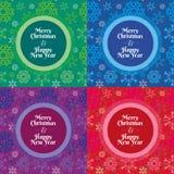 Wesoło boże narodzenia i Szczęśliwy nowy rok płatków śniegu wzór Zdjęcie Stock