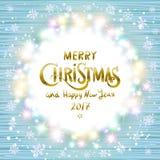 Wesoło boże narodzenia 2017 i Szczęśliwy nowy rok rozjarzony Boże Narodzenie wianek ilustracji