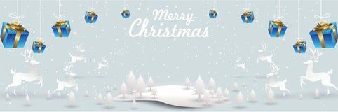Wesoło boże narodzenia i Szczęśliwy nowy rok Santa renifer w Bożenarodzeniowej śnieżnej scenie wektorowej ilustracyjnej kartki z  ilustracji