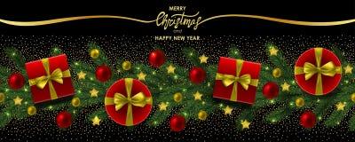 Wesoło boże narodzenia i Szczęśliwy nowy rok sieci sztandar zdjęcie royalty free