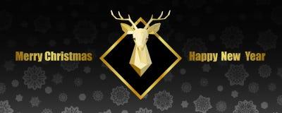Wesoło boże narodzenia i Szczęśliwy nowy rok sieci sztandar z Poligonalną rogacz głową ilustracja wektor