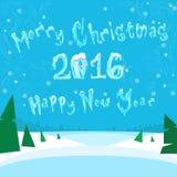 Wesoło boże narodzenia i Szczęśliwy Nowy 2016 rok sztandaru lód ilustracji