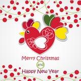 Wesoło boże narodzenia i Szczęśliwy nowy rok Wektorowy koguta wizerunek Kartka Z Pozdrowieniami projekt Obrazy Royalty Free