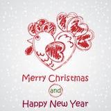 Wesoło boże narodzenia i Szczęśliwy nowy rok Wektorowy koguta wizerunek Kartka Z Pozdrowieniami projekt Zdjęcia Royalty Free