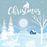 Wesoło boże narodzenia i Szczęśliwy nowy rok z chałupą i płatek śniegu na Błękitnym tle, Bożenarodzeniowy reklamowy pojęcie proje royalty ilustracja
