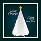 Wesoło boże narodzenia i Szczęśliwy nowy rok z choinka projekta Kosmatym Stylowym Abstrakcjonistycznym wektorem zdjęcia royalty free
