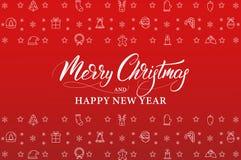Wesoło boże narodzenia i Szczęśliwy nowy rok Zima wakacje sztandar z liniowymi ikon dekoracjami i Xmas kaligrafią ilustracji