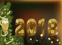 Wesoło boże narodzenia i Szczęśliwy Nowy 2018 yea z szampanem Zdjęcie Royalty Free