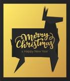 Wesoło boże narodzenia i Szczęśliwych nowy rok wakacji karciany projekt Zimy pocztówka z czarną premia papieru ramą tłem złocisty ilustracja wektor