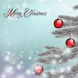 Wesoło Boże Narodzenia, karciany błękit Fotografia Stock