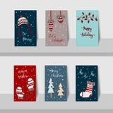 Wesoło boże narodzenia mini cards-2017-Christmas grżą życzenie temat Obraz Royalty Free