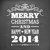 Wesoło boże narodzenia 2014 na blackboard karcie i szczęśliwy nowy rok Zdjęcie Stock