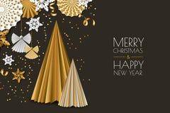 Wesoło boże narodzenia, nowego roku kartka z pozdrowieniami Wektorowi złoci papierowi dekoracja płatki śniegu, choinka, aniołowie ilustracji